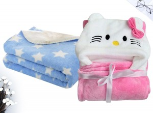 Combo of new born baby wrapper/blanket and baby sheet - Pack of 2