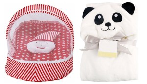 Baby bedding set with protective mosquito net and pillow with a baby wrapper/towel