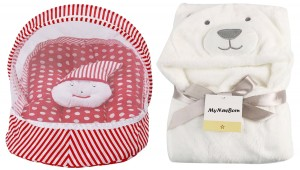 Baby bedding set with protective mosquito net and pillow with a baby wrapper/towel-Pack of 2